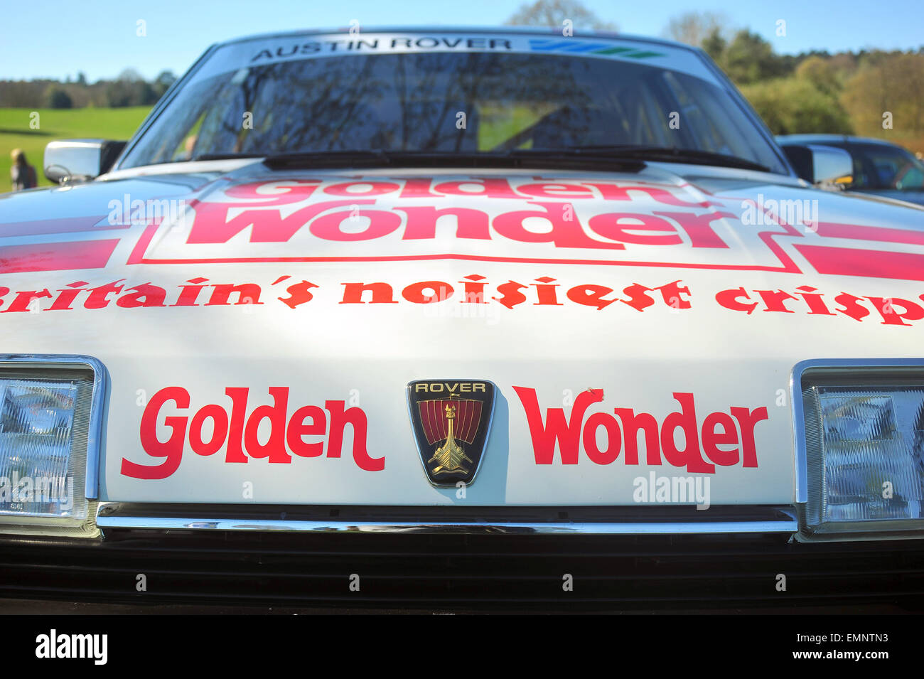 The front of a Golden Wonder sponsored Rover car at a car show near Longbridge in Birmingham. - Stock Image
