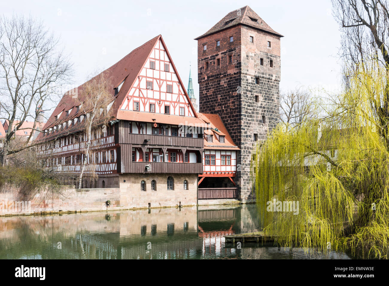 The Wasserturm (water tower, built 13th century)  and the Weinstadl (Former Wine Depot, built 15th century) - medieval - Stock Image