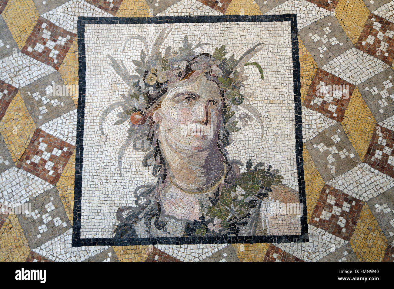 Mosaic floor panel. Roman, Imperial, 2ndc. AD. From Villa a Daphne near Antioch (modern Antakya, Turkey). Detail - Stock Image
