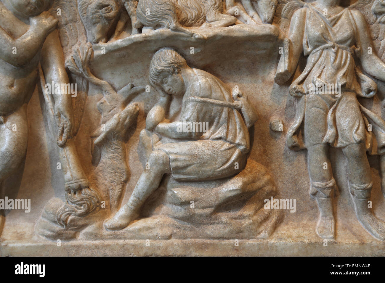 Marble sarcophagus with the myth of Endymion. Roman. Antonine period, 2nd c.AD. Detail of Endymion, a beautiful - Stock Image