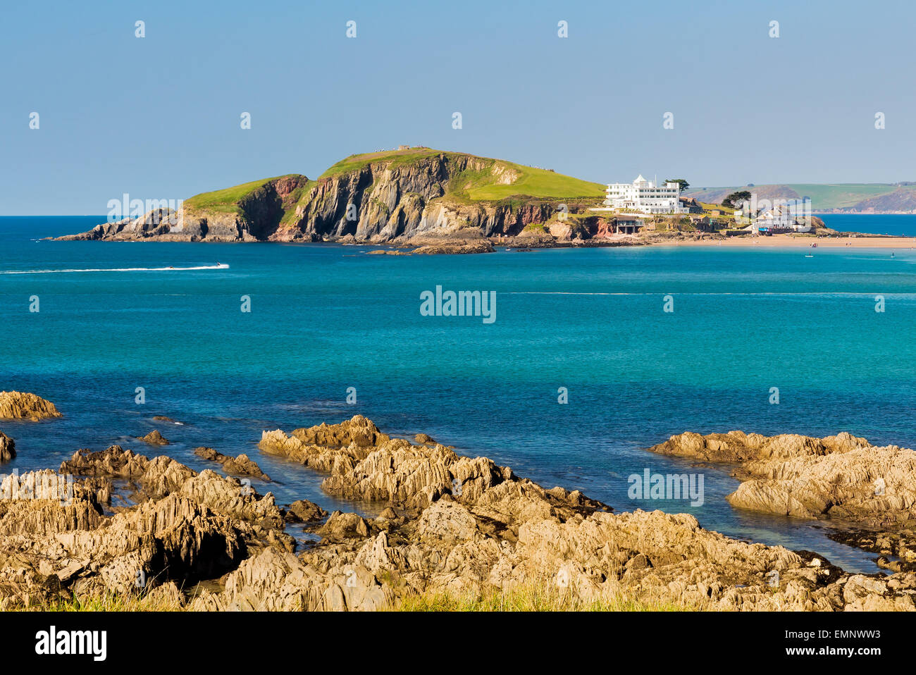 Burgh Island as seen from Bantham Devon England UK Europe - Stock Image