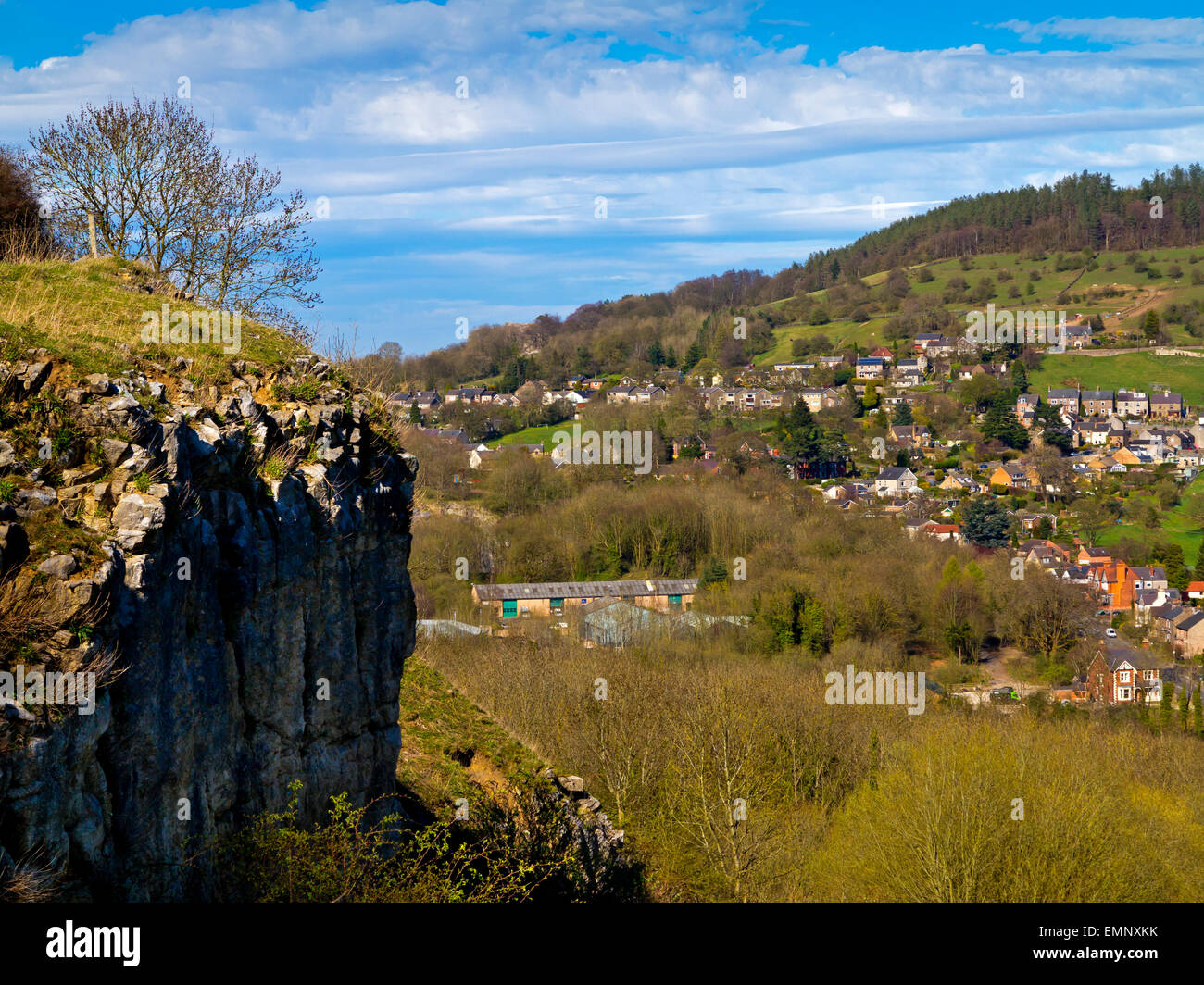 A view from Stoney Wood towards Wirksworth a market town in Derbyshire Dales Peak District England UK - Stock Image