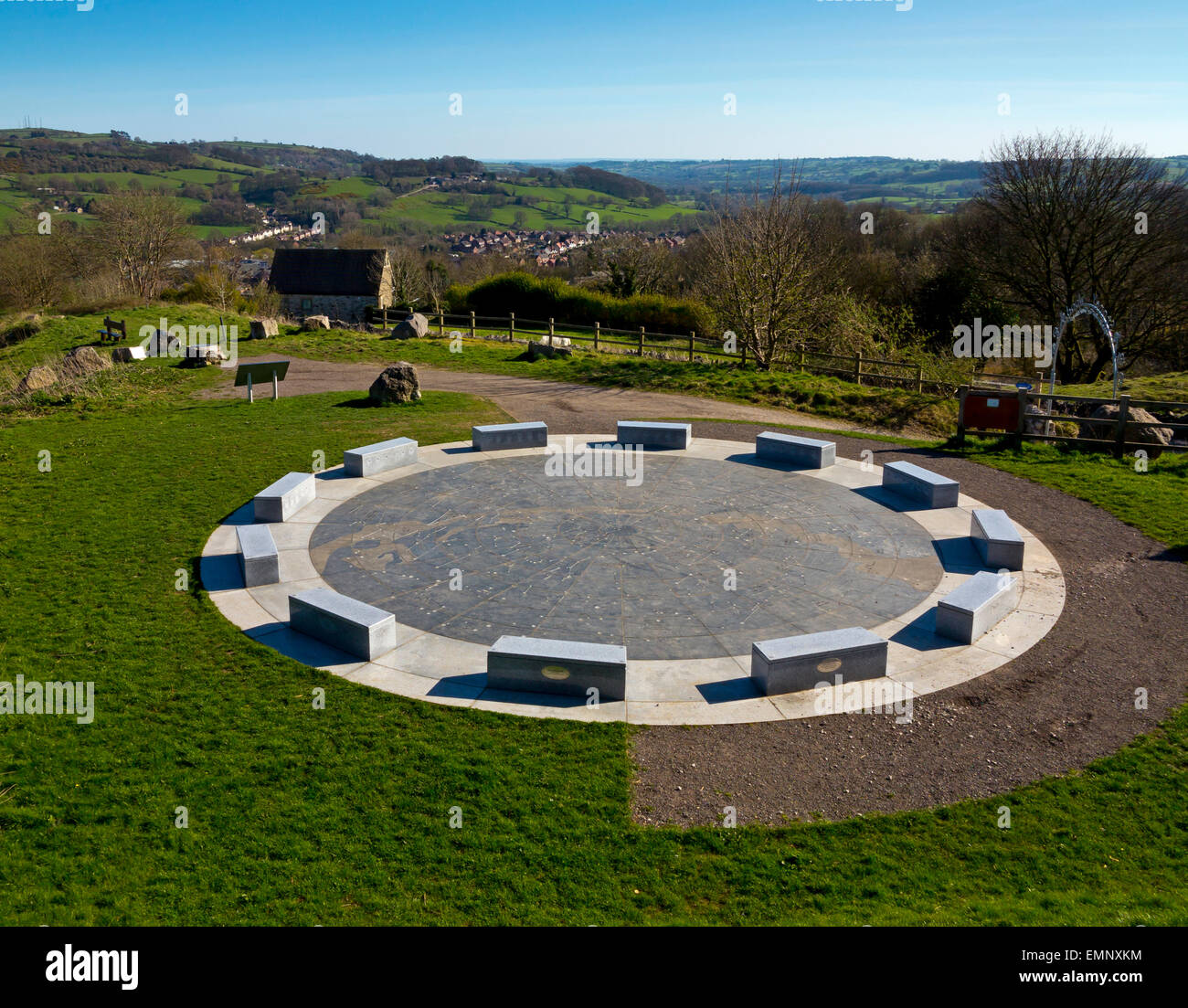 A view of the Stoney Wood Stardisc a 21st Century stone circle and celestial amphitheatre near Wirksworth Peak District - Stock Image