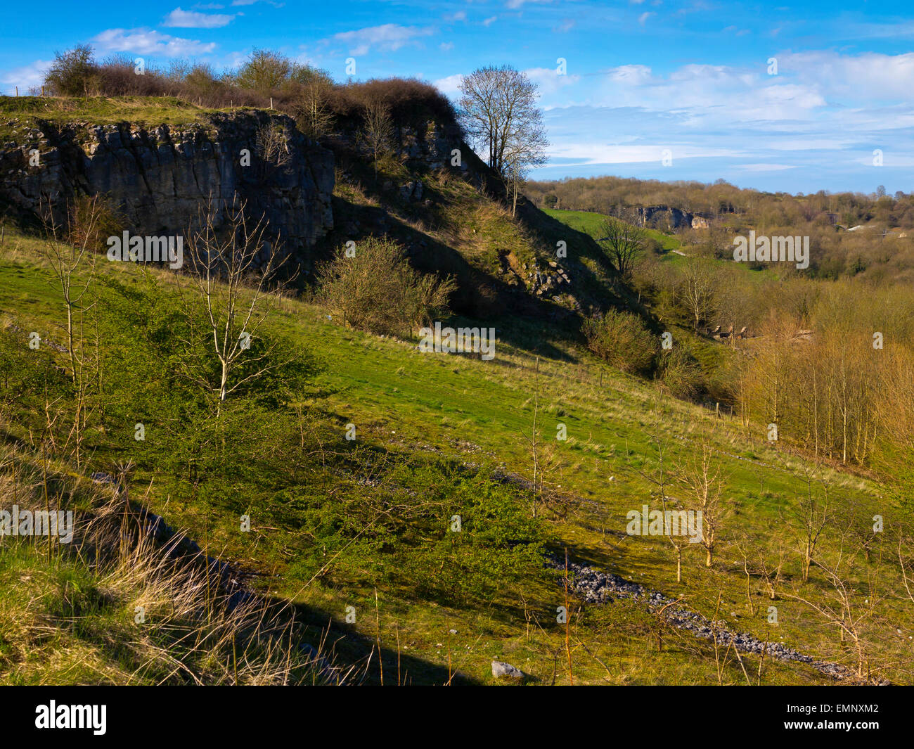 A view of the hillside around Stoney Wood near Wirksworth Derbyshire Dales Peak District England UK in Spring - Stock Image