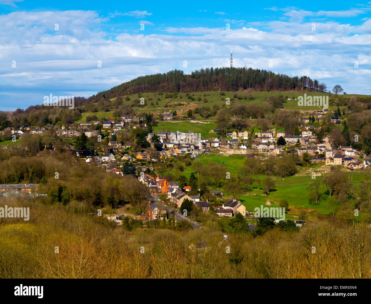 A view of rural housing near Wirksworth in the Derbyshire Dales England UK - Stock Image
