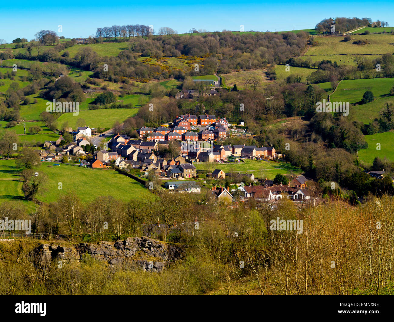 A view of rural housing near Wirksworth in the Derbyshire Dales Peak District England UK - Stock Image