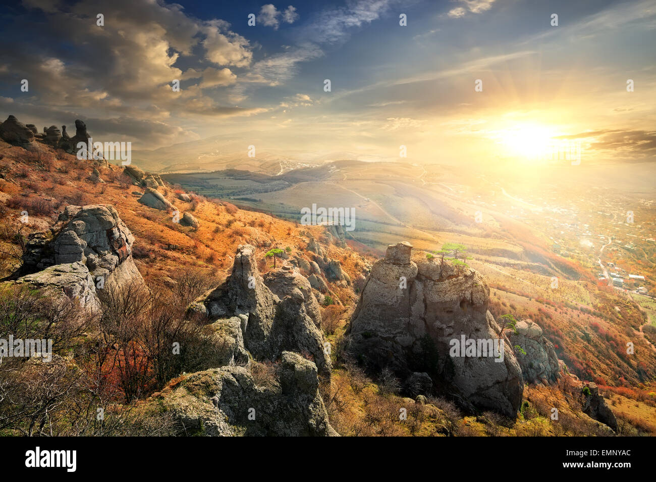Beautiful cliffs in the autumn at sunrise - Stock Image