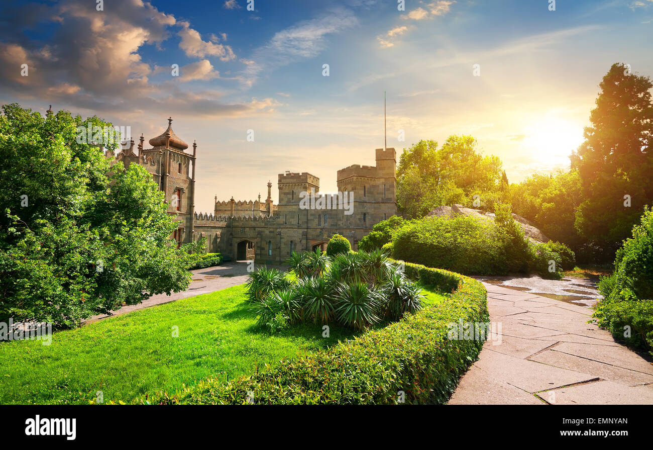 Vorontsov's palace and beautiful green park at sunset - Stock Image