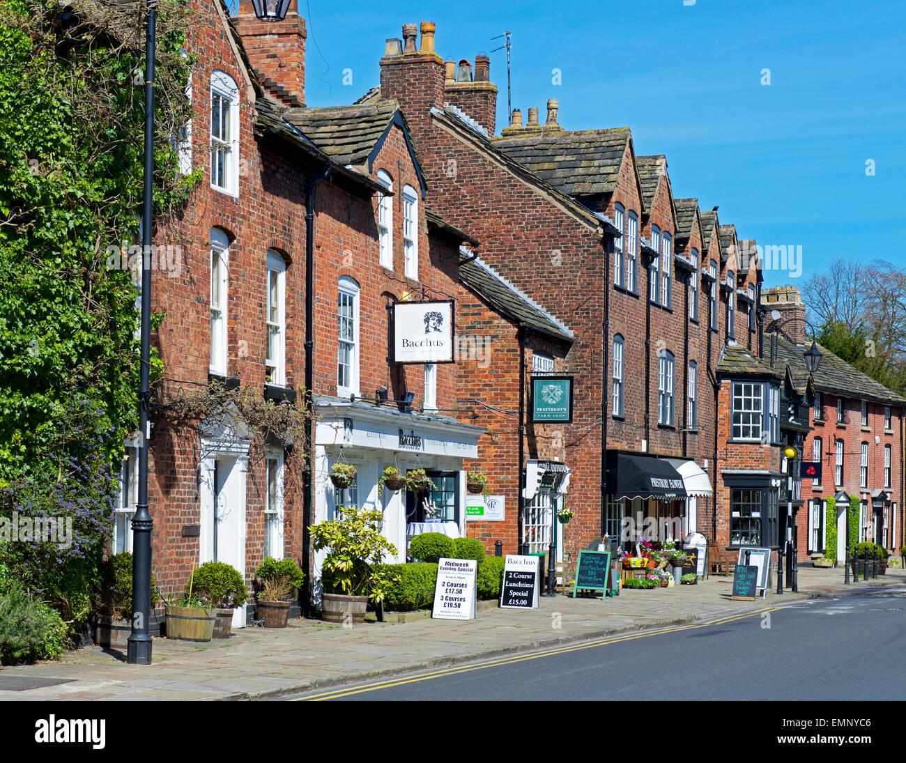 Street in the village of Prestbury, Cheshire, England UK - Stock Image