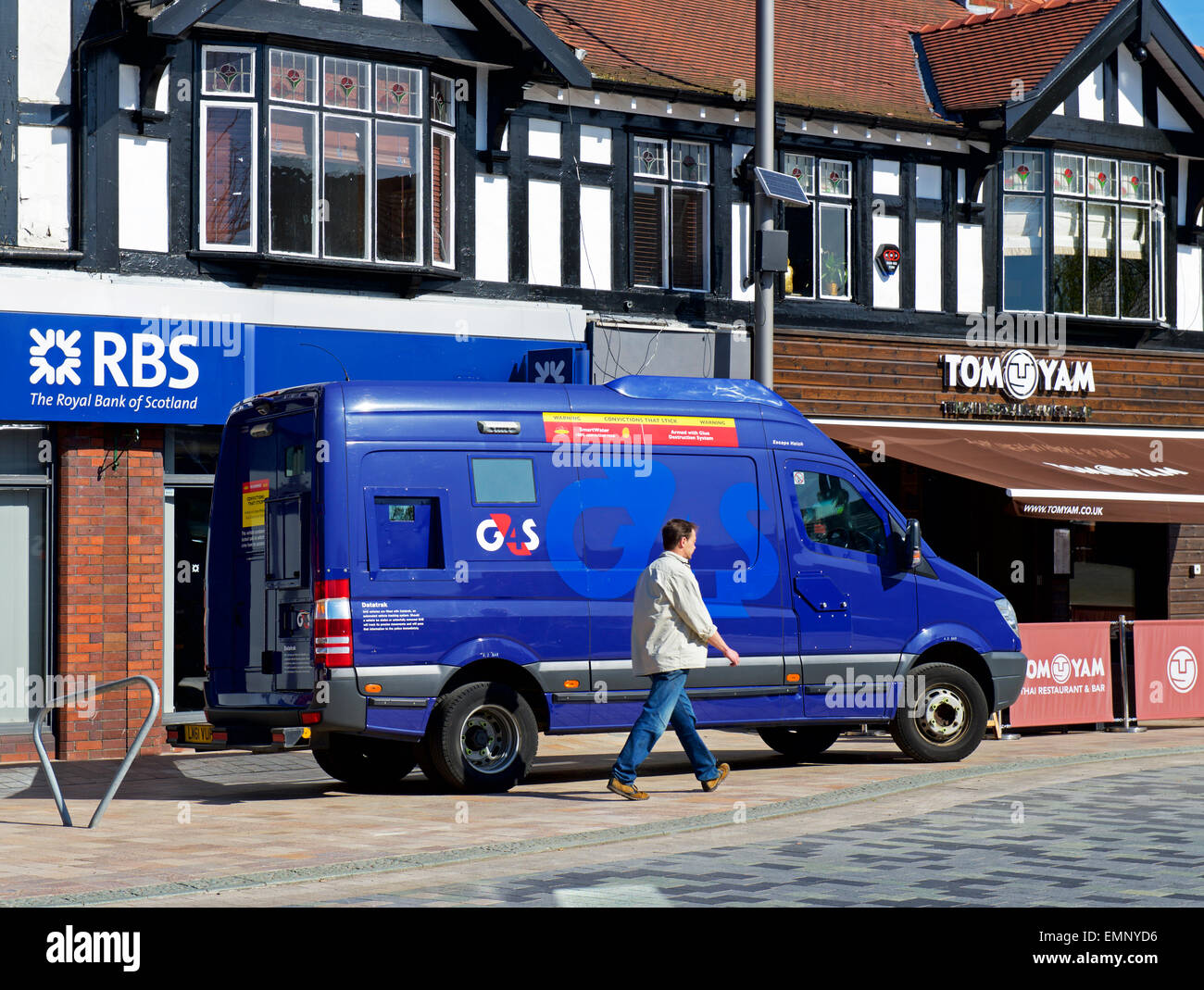 G4S van parked outside RBS, Poynton, Cheshire, England UK - Stock Image