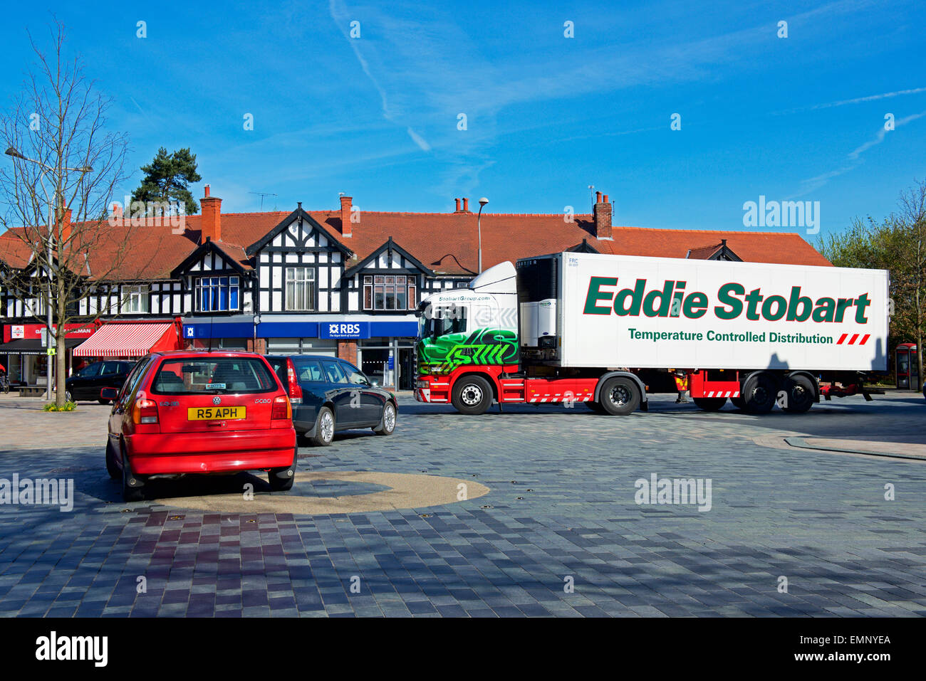 New shared space scheme for traffic in Poynton,Cheshire, - Stock Image