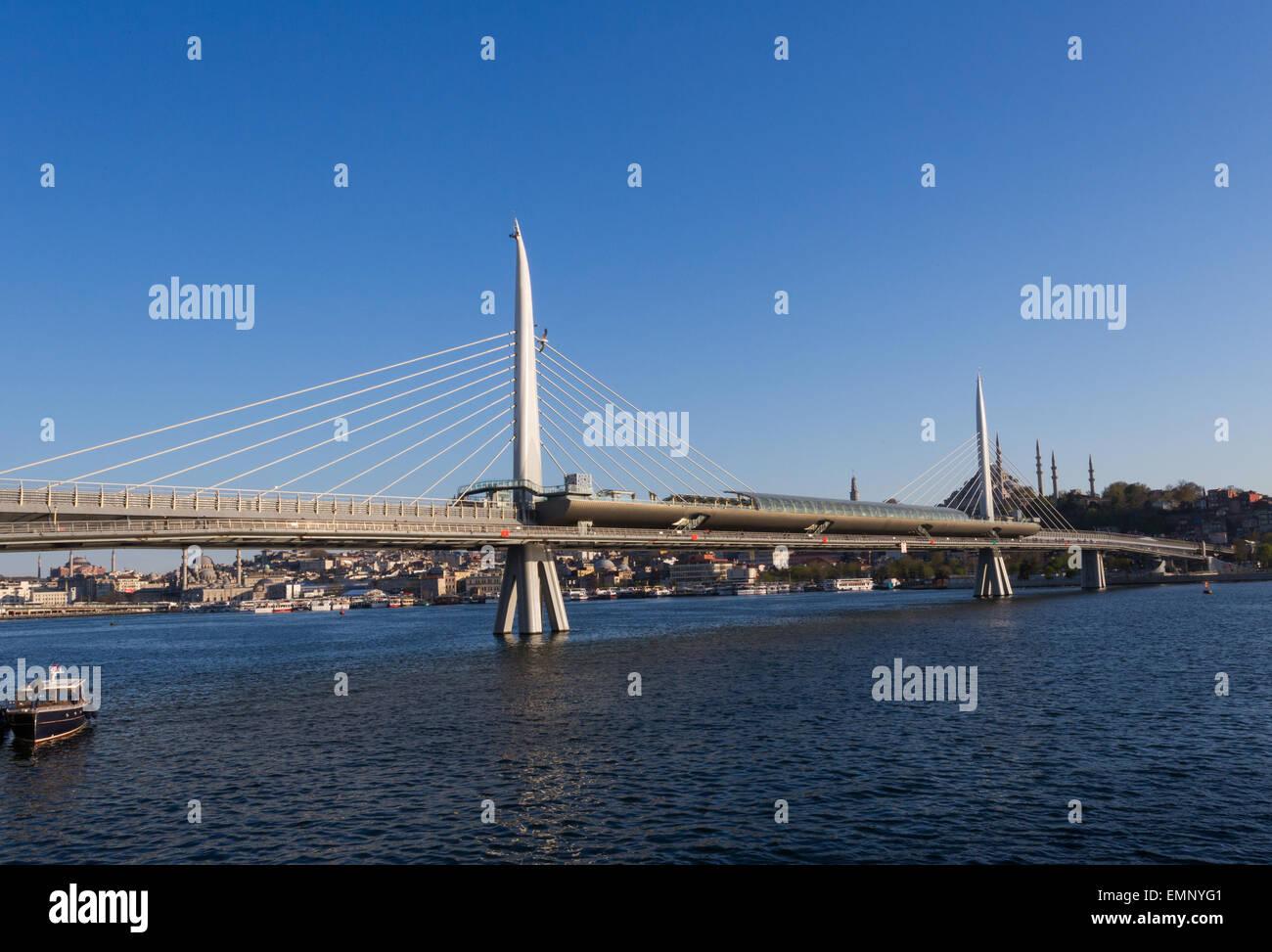 Golden Horn Metro bridge in Istanbul Turkey Stock Photo