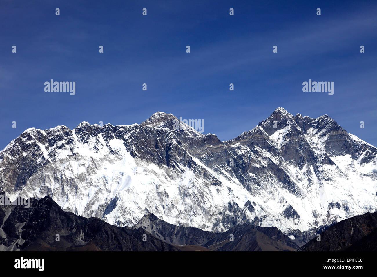 Snow Capped summit of Everest Mountain, Himalayan mountains, UNESCO World Heritage Site, Sagarmatha National Park, Stock Photo