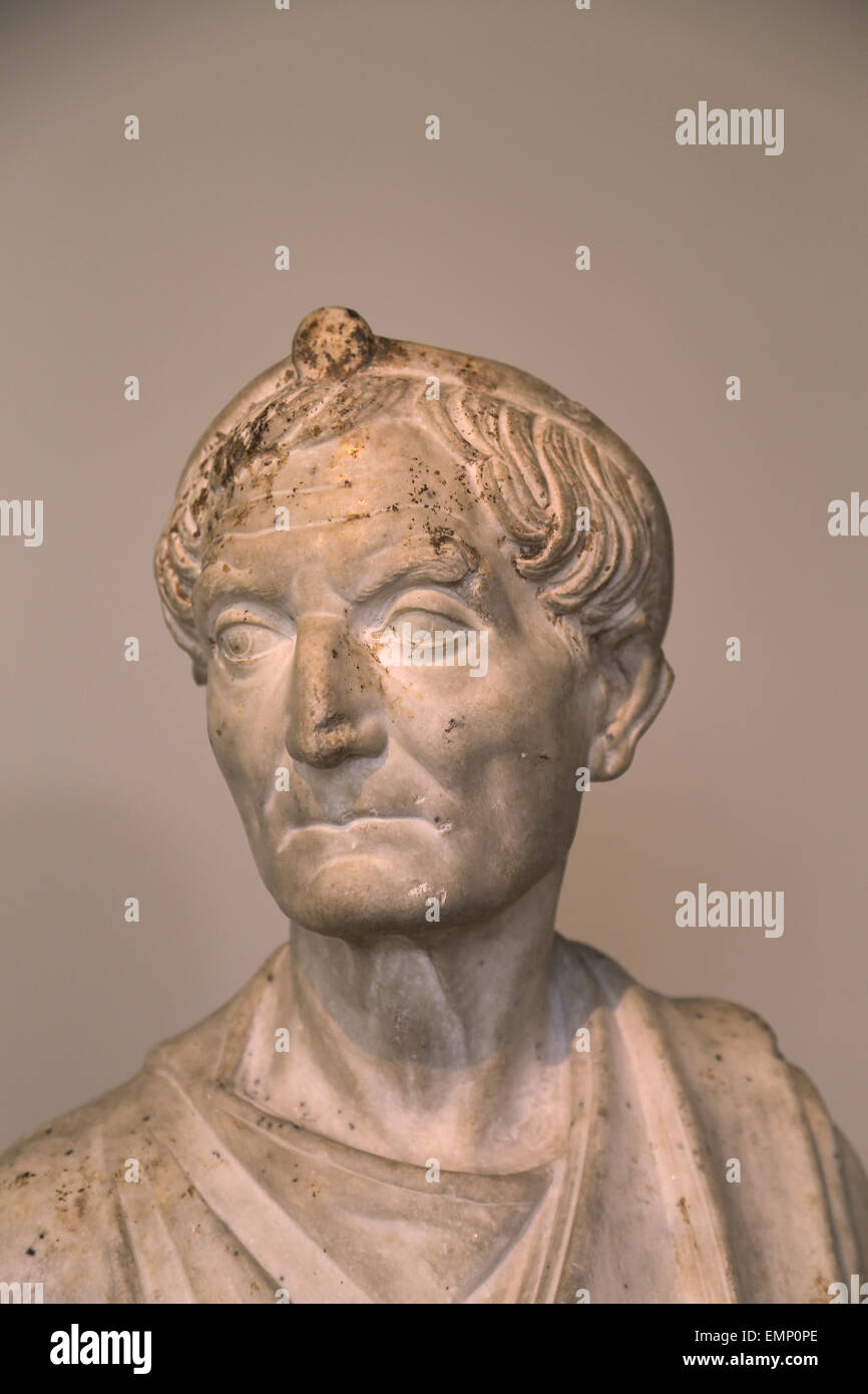 Bust of a priest. Roman bust. Hadrianic period. 117-138 AD. Priest of the god Serapis. Metropolitan Museum of Art. - Stock Image