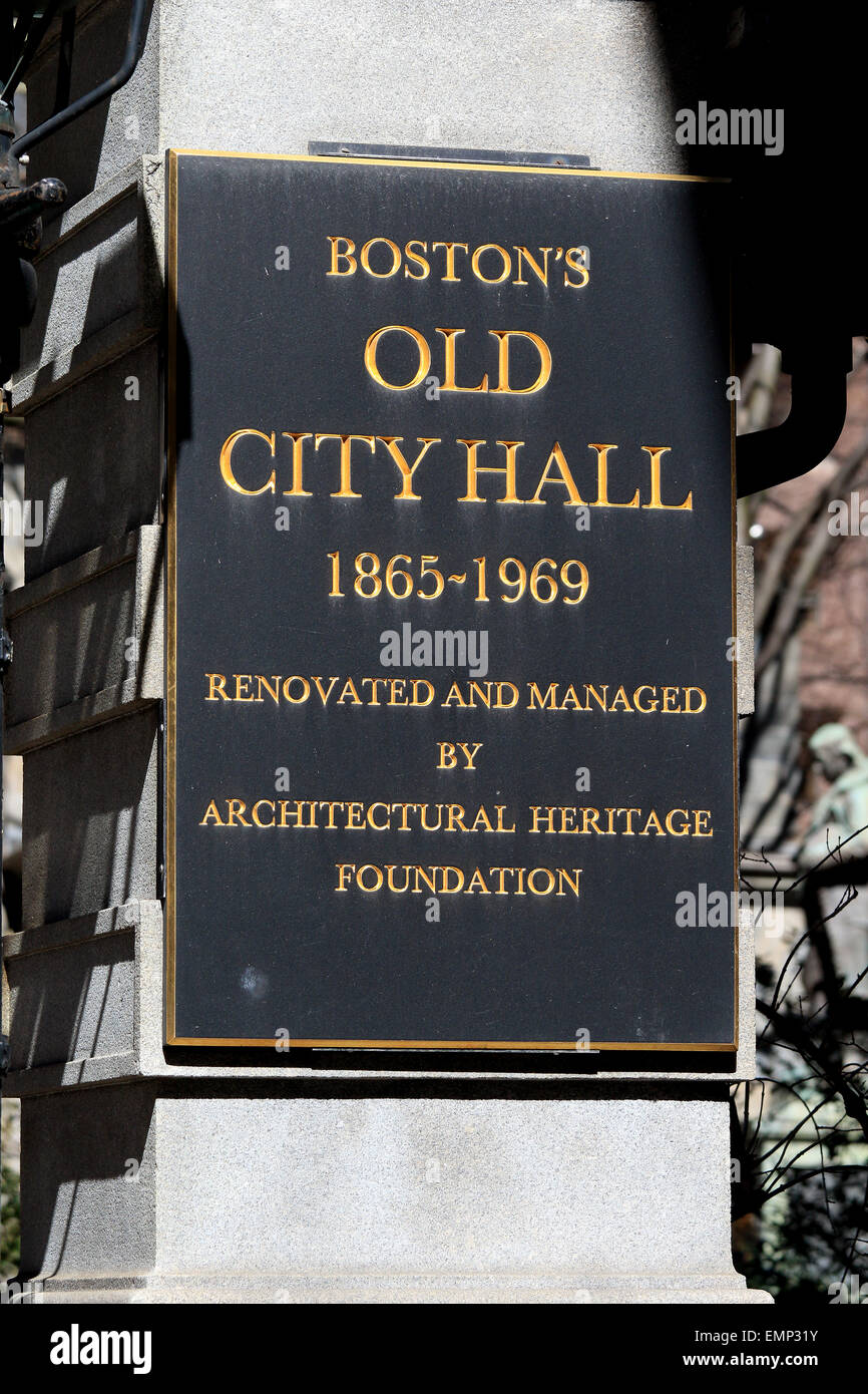 Boston Freedom Trail landmark. The Old City Hall of Boston Massachusetts plaque. - Stock Image