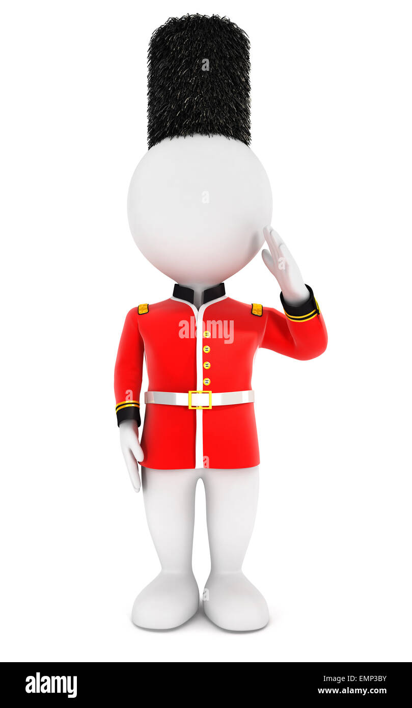 3d white people royal guard, isolated white background, 3d image Stock Photo