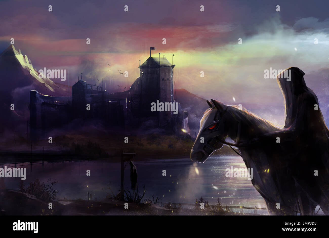 Black Horseman Castle Fantasy Black Horse Rider With Background Stock Photo Alamy