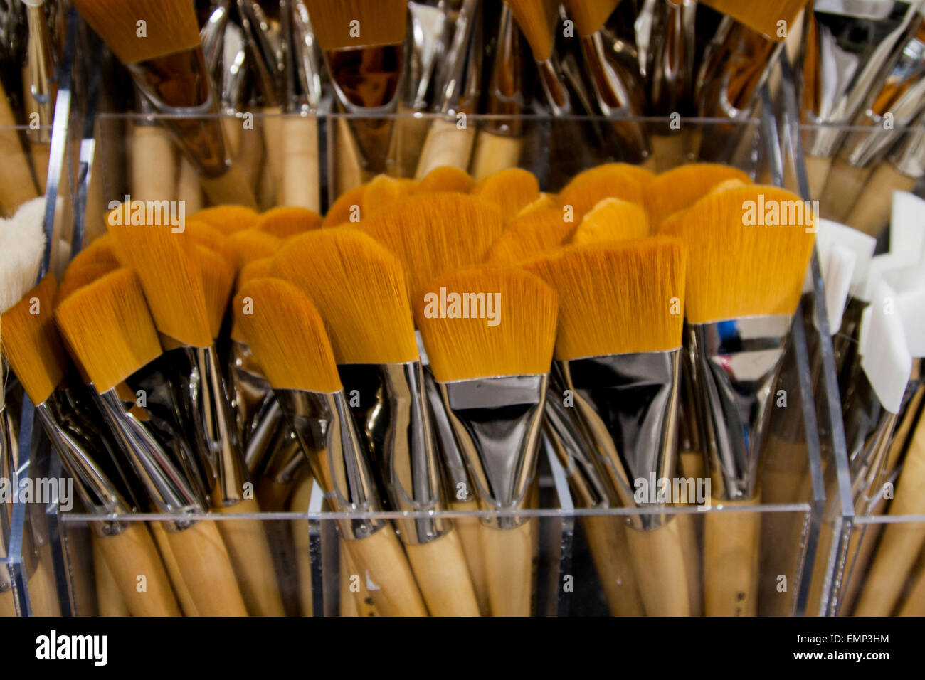 Paintbrushes on sale at The Art Store. - Stock Image