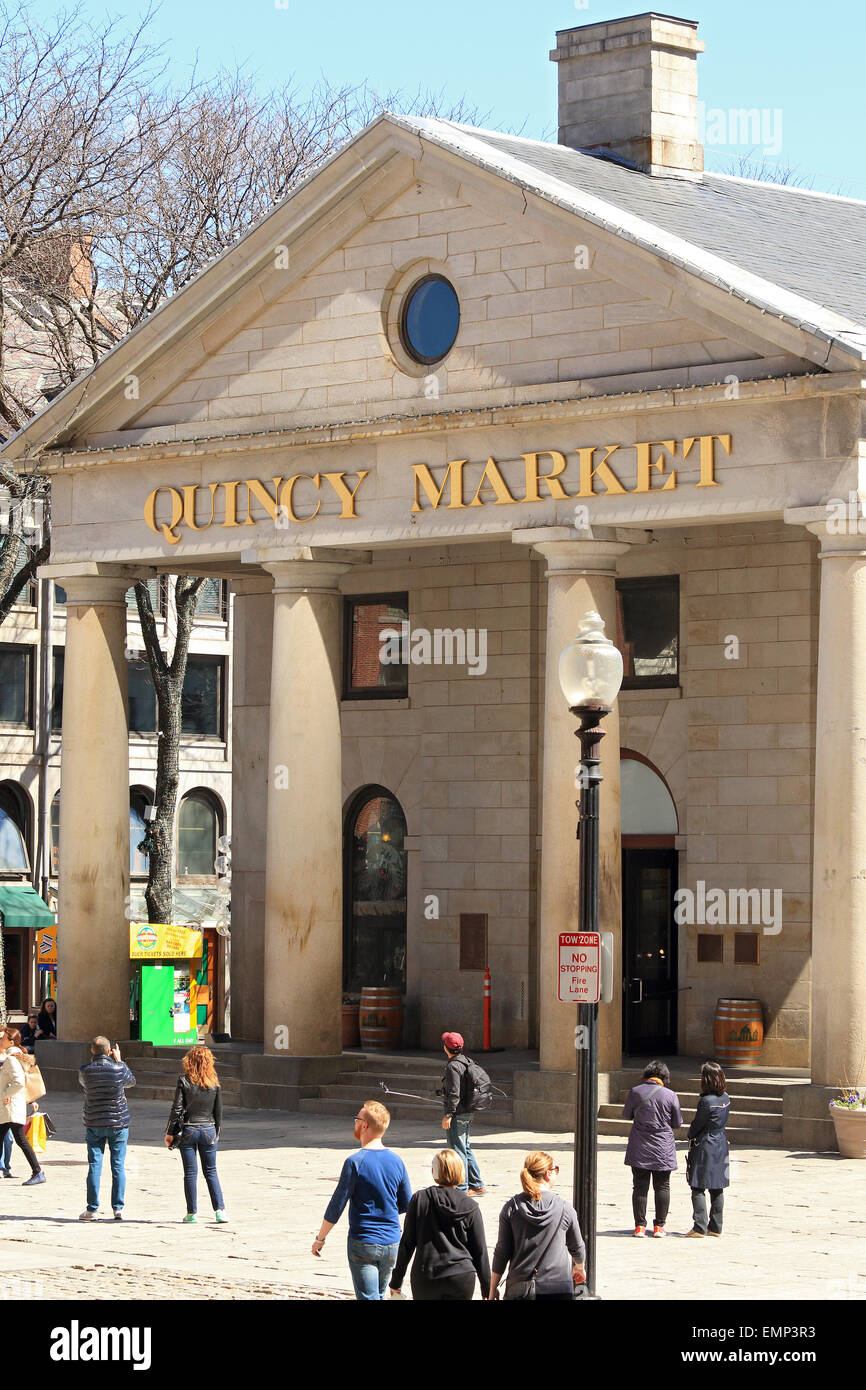 Boston Massachusetts Freedom Trail landmark Quincy Market front with tourists, tourist shoppers at entrance and - Stock Image
