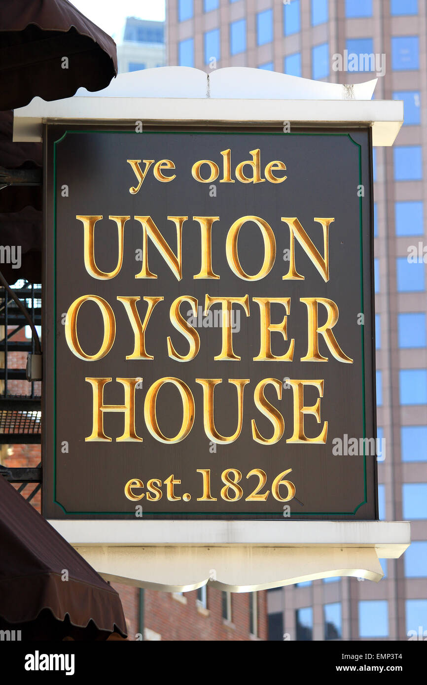 Boston Masschusetts Freedom Trail landmark Ye Olde Union Oyster House restaurant business sign. - Stock Image