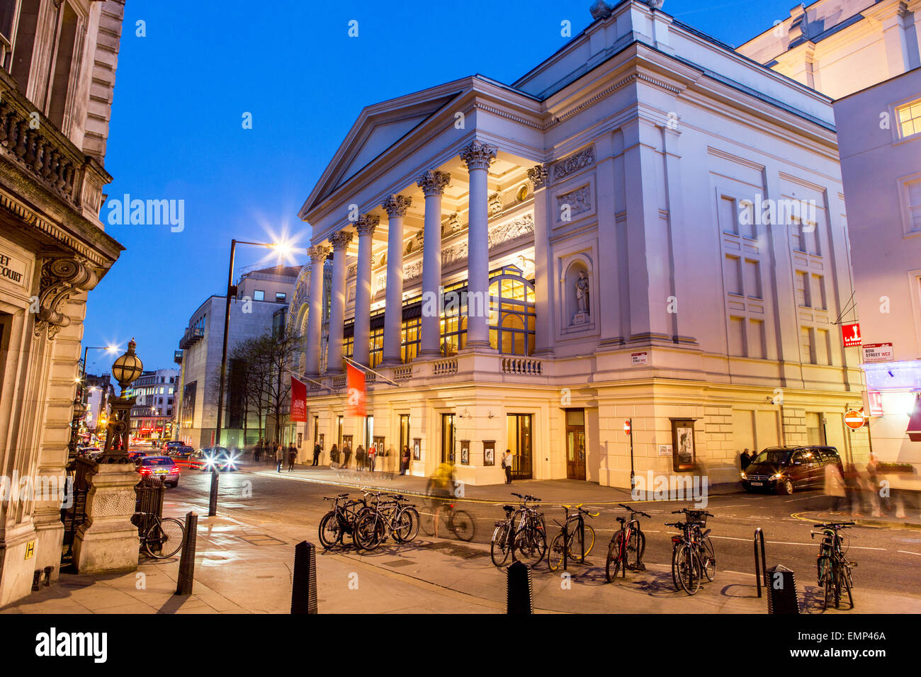 Bow Street With The Royal Opera House at Night London UK - Stock Image