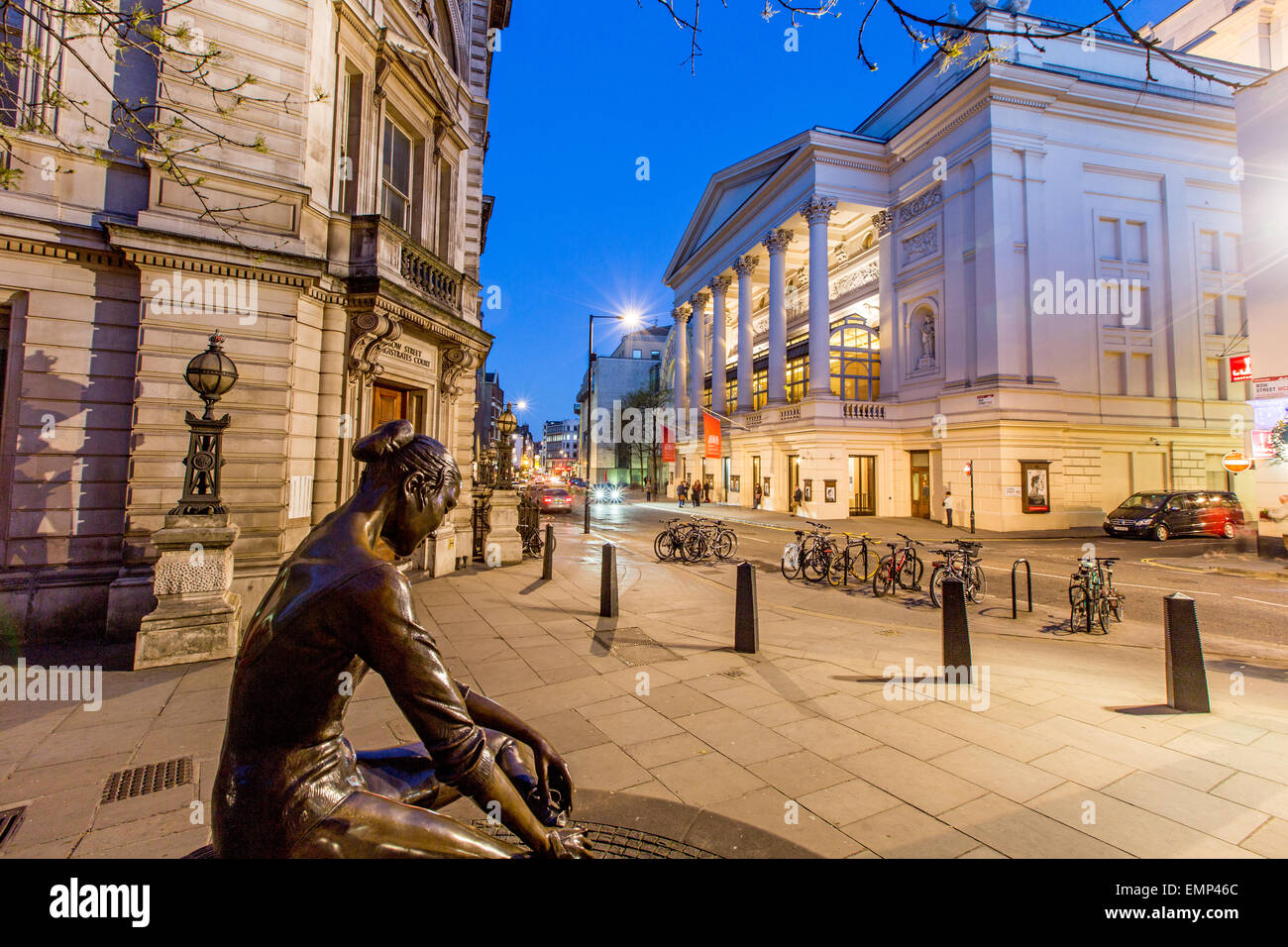 Martlett Court off  Bow Street With The Royal Opera House at Night London UK - Stock Image