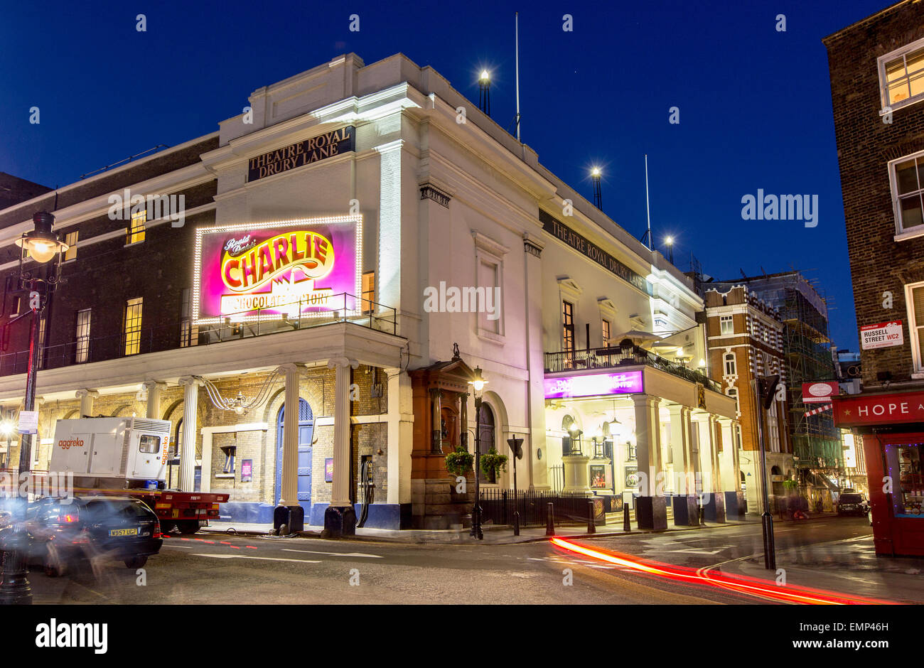 Theatre Royal Drury Lane at Night London UK Stock Photo
