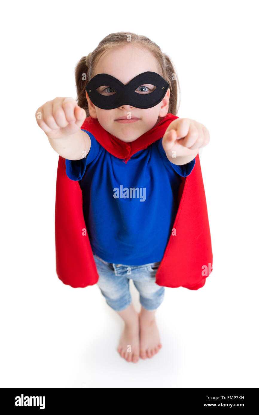 superhero girl child dreams about flying - Stock Image