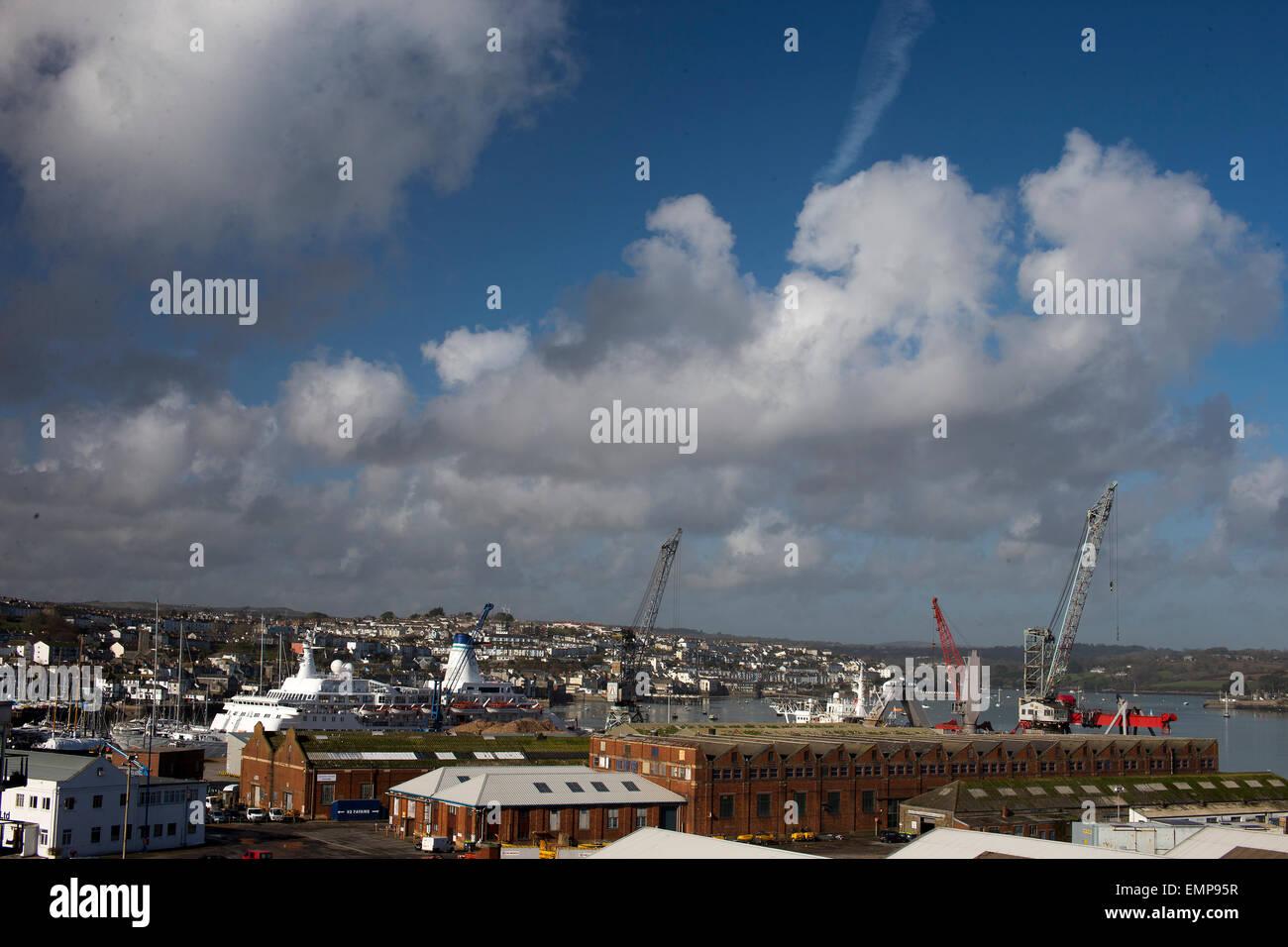 View over Falmouth dockyard, Cornwall, England, UK. Stock Photo