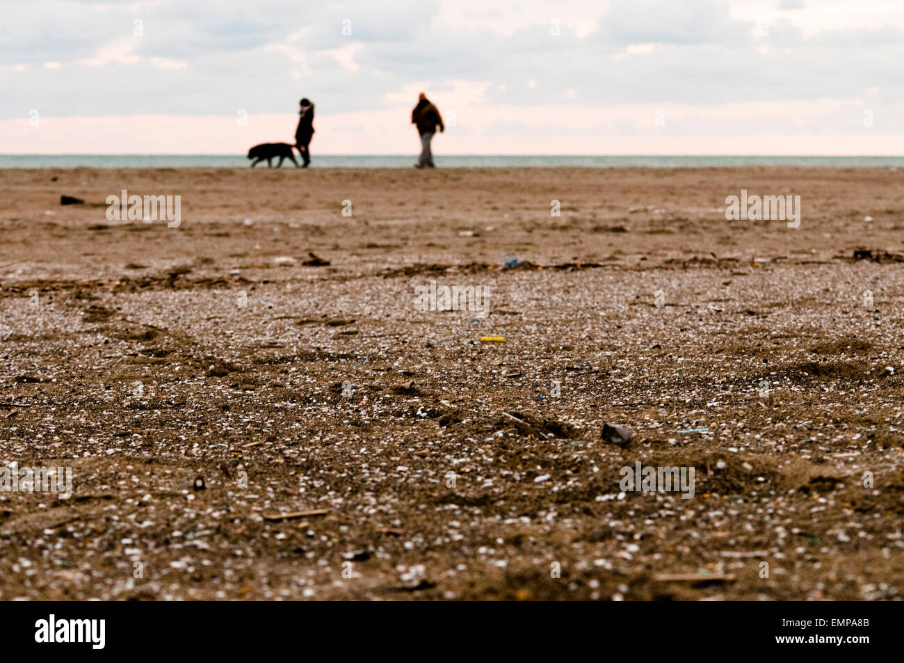 couple with dog on the sand - Stock Image