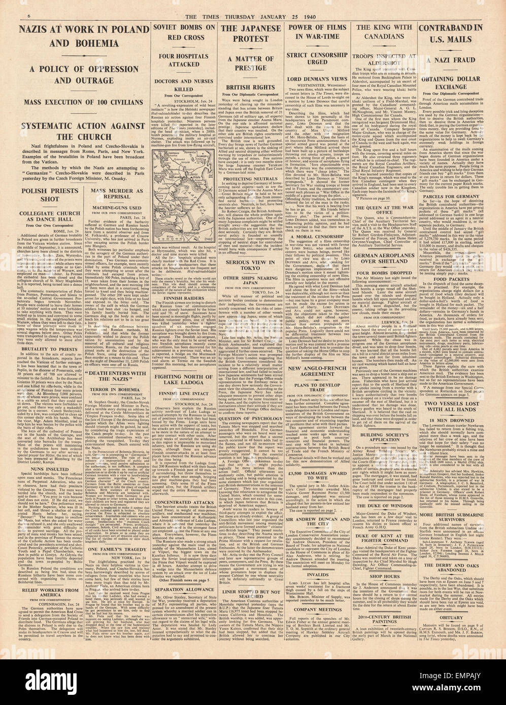 1940 front page The Times Nazi Brutality in Poland Province of Bohemia - Stock Image