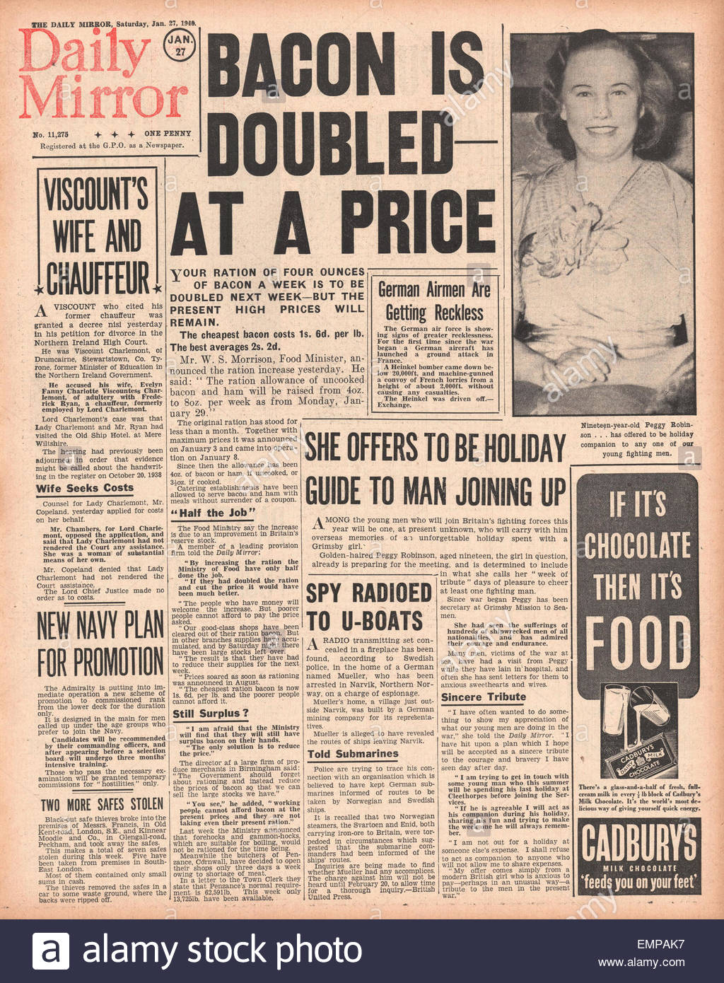 1940 front page Daily Mirror Price of Bacon is doubled - Stock Image