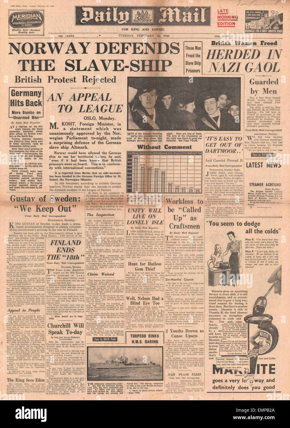1940 front page Daily Mail Norway may appeal to League of Nations over Altmark - Stock Image