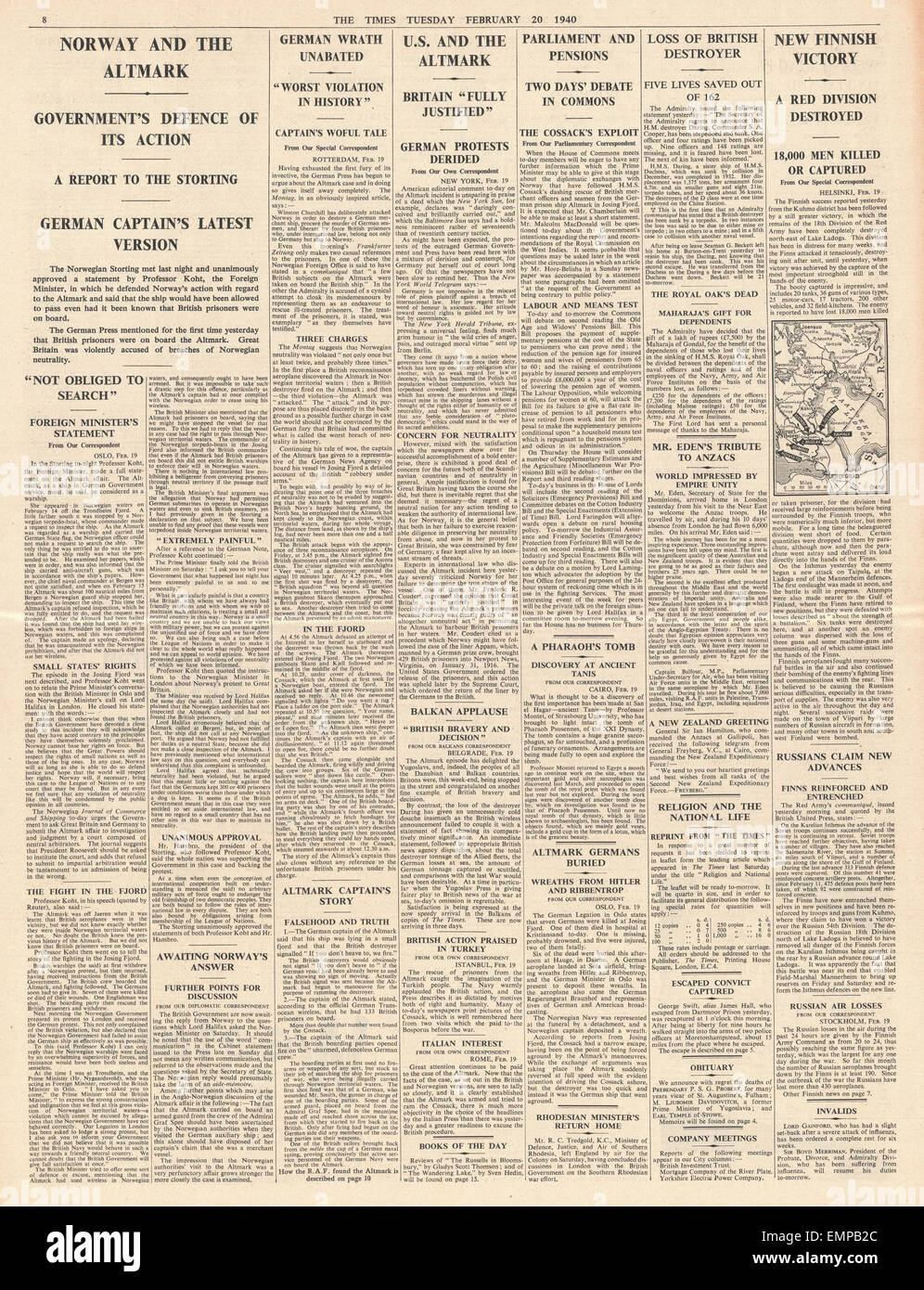1940 The Times page 8 Norway may appeal to League of Nations over Altmark incident - Stock Image