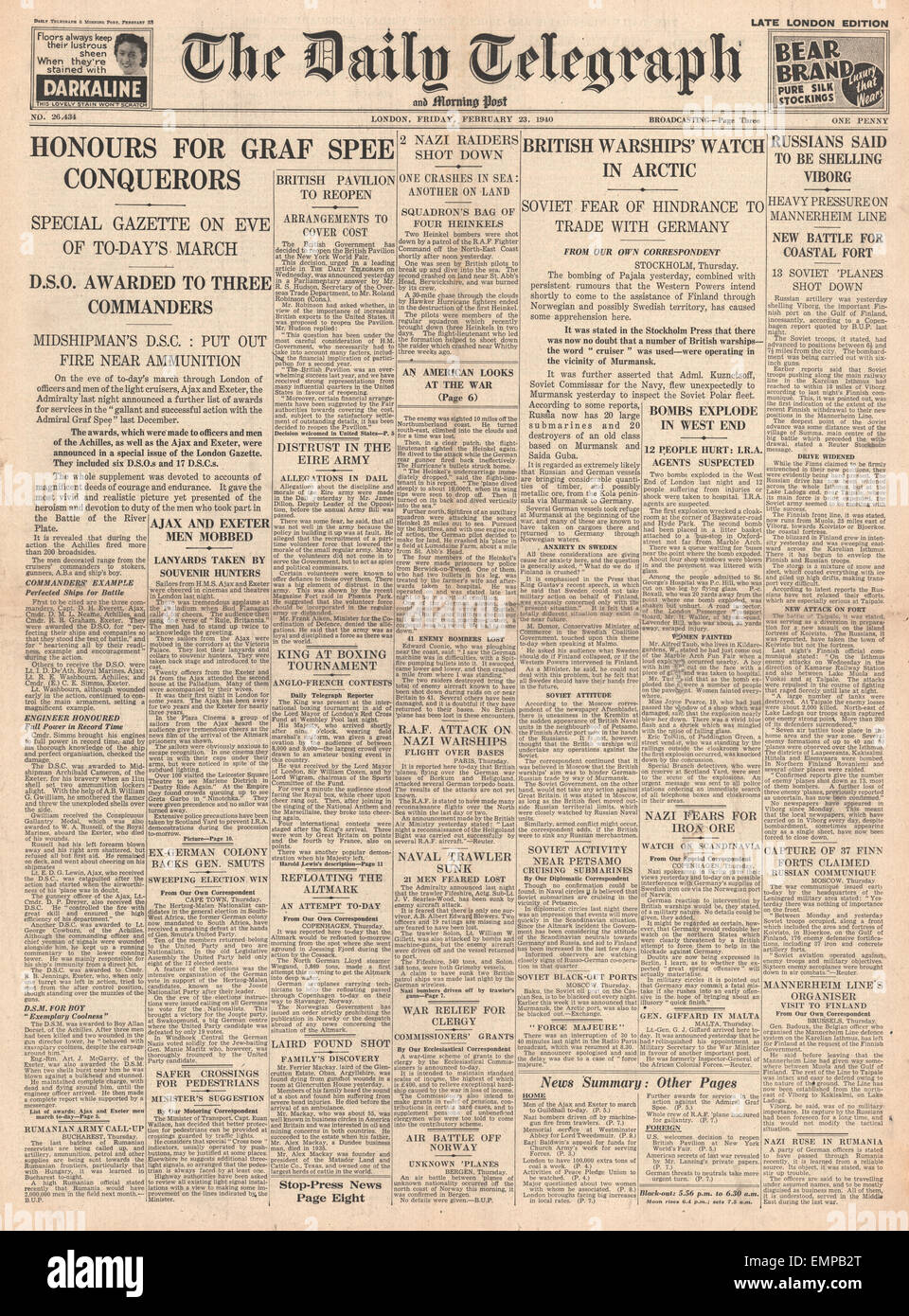1940 front page Daily Telegraph Navy honoured for Battle of River Plate Stock Photo