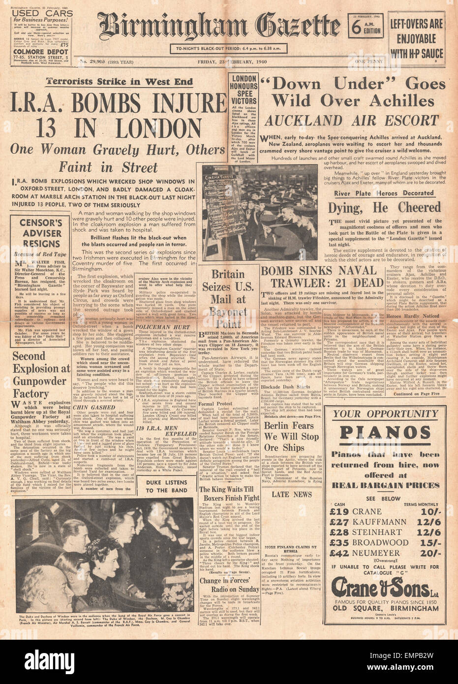 1940 front page Birmingham Gazette Navy honoured for Battle of River Plate I.R.A. bombs explode in London Stock Photo