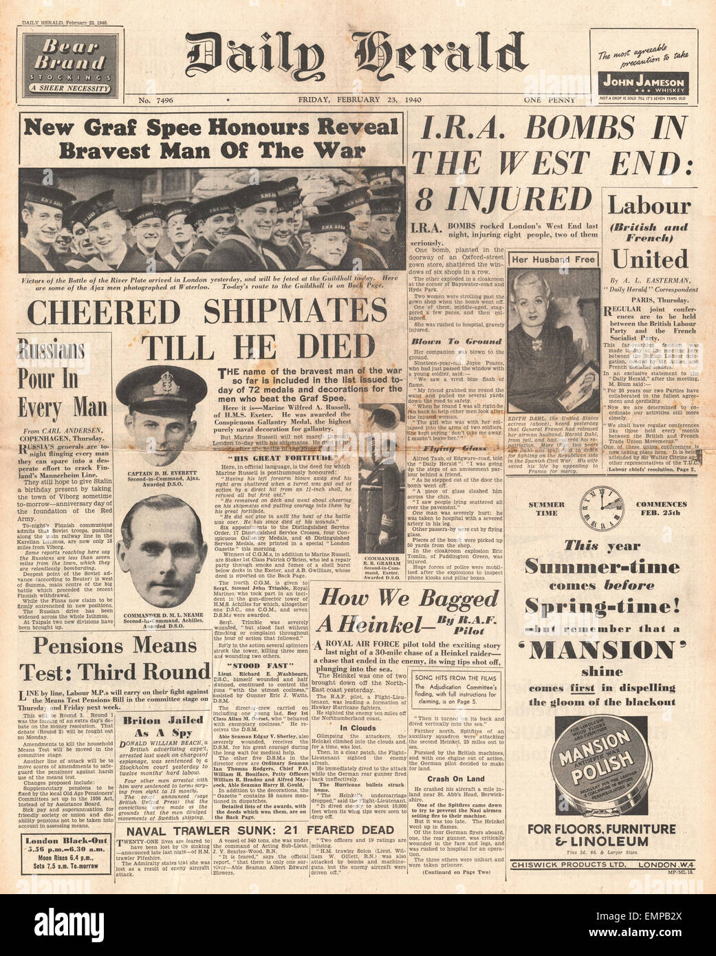 1940 front page Daily Herald Navy honoured for Battle of River Plate I.R.A. bombs explode in London Stock Photo