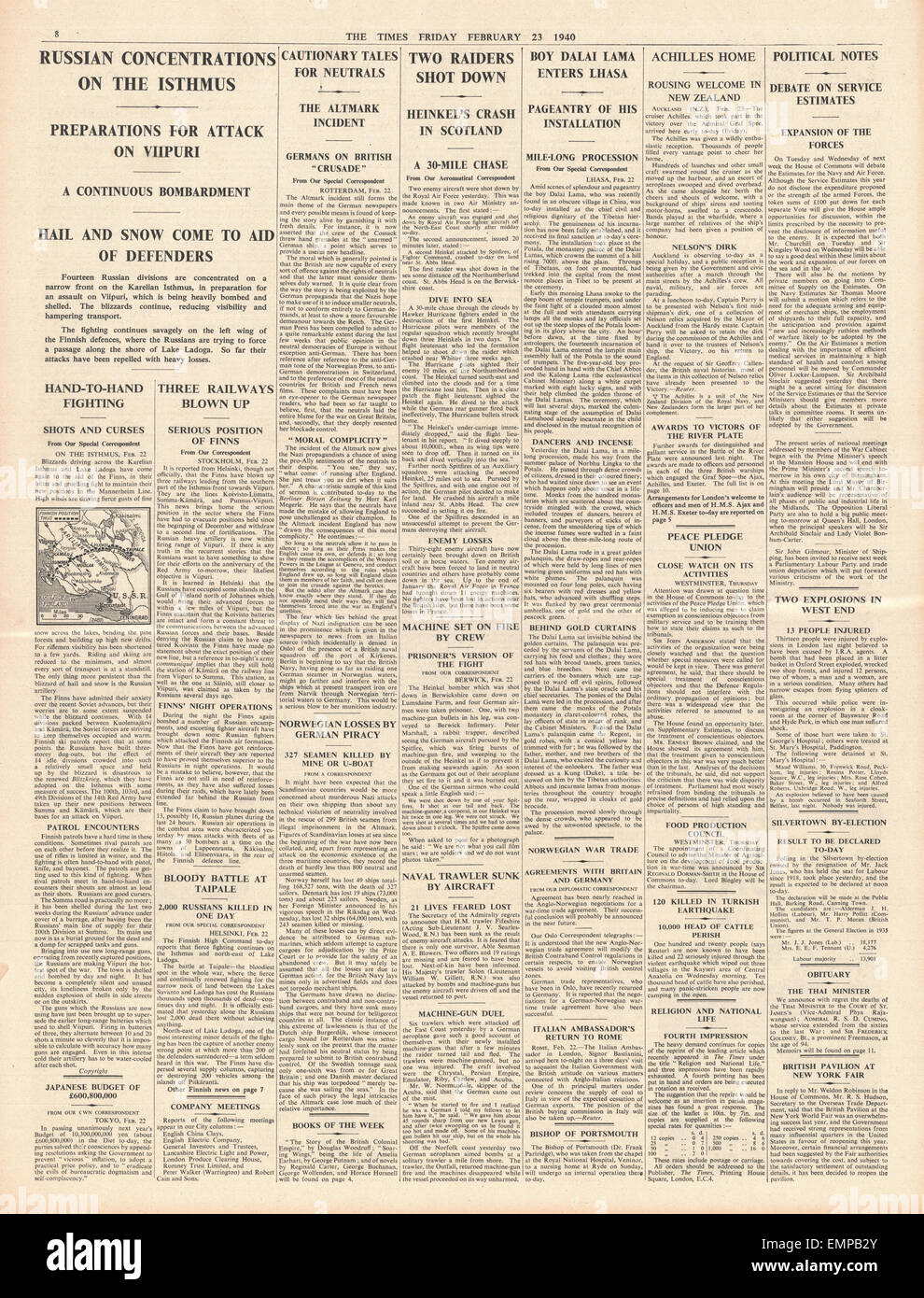 1940 page 8 The The Times Navy honoured for Battle of River Plate I.R.A. bombs explode in London Stock Photo