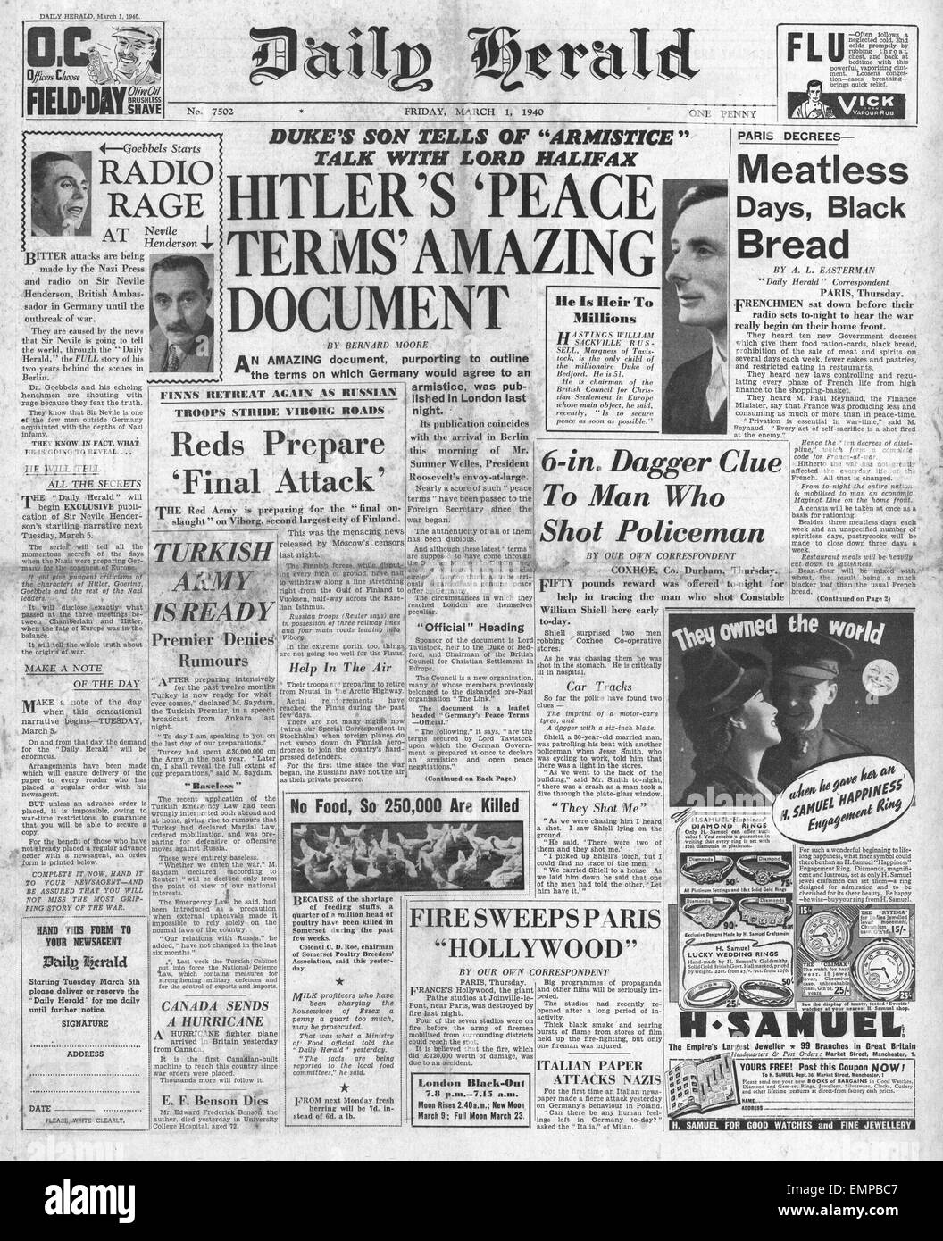1940 front page Daily Herald Secret peace talks by the Marquis of Tavistock - Stock Image