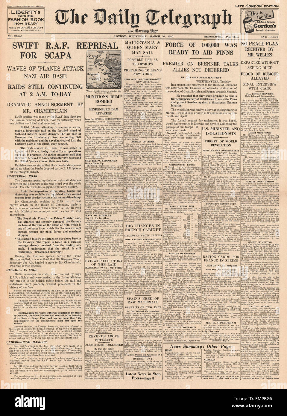 1940 Front Page Daily Telegraph RAF Bomb German Island Of Sylt   Stock Image