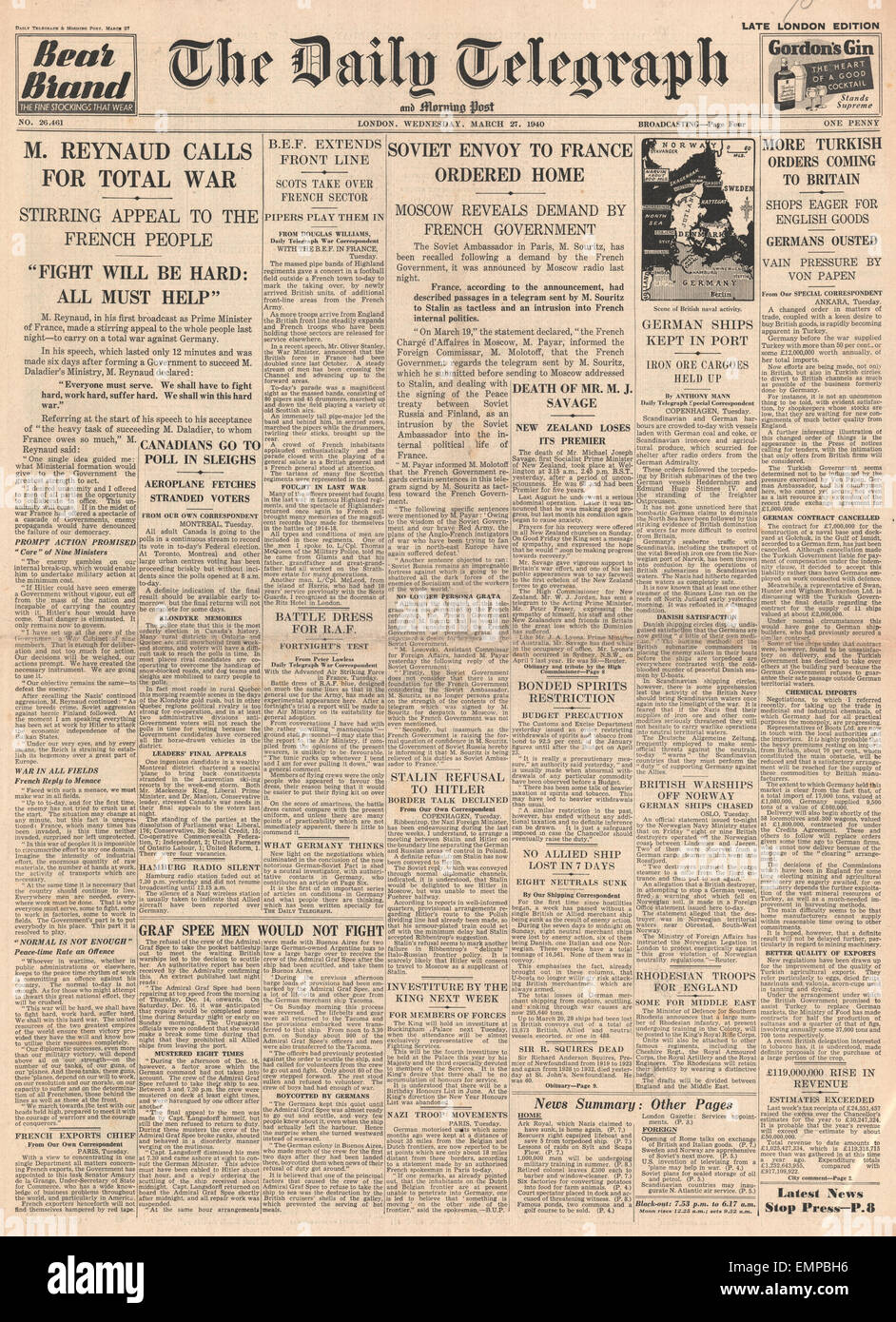 1940 front page Sunday Times German diplomacy in Balkans and Dartmoor Prison Riot - Stock Image