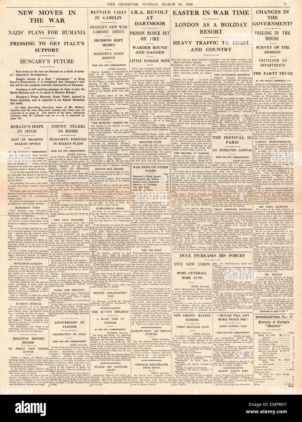 1940  page 7 The Observer German Diplomacy in Balkans Dartmoor Prison Riot - Stock Image