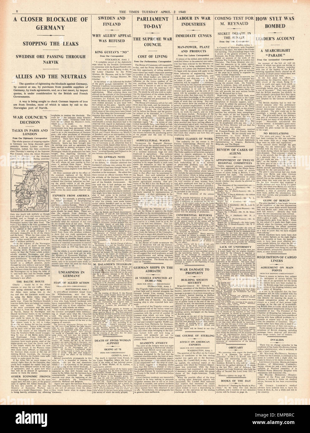 1940 page 8 The Times British French governments call for tighter blockade of Germany British industry in labour - Stock Image