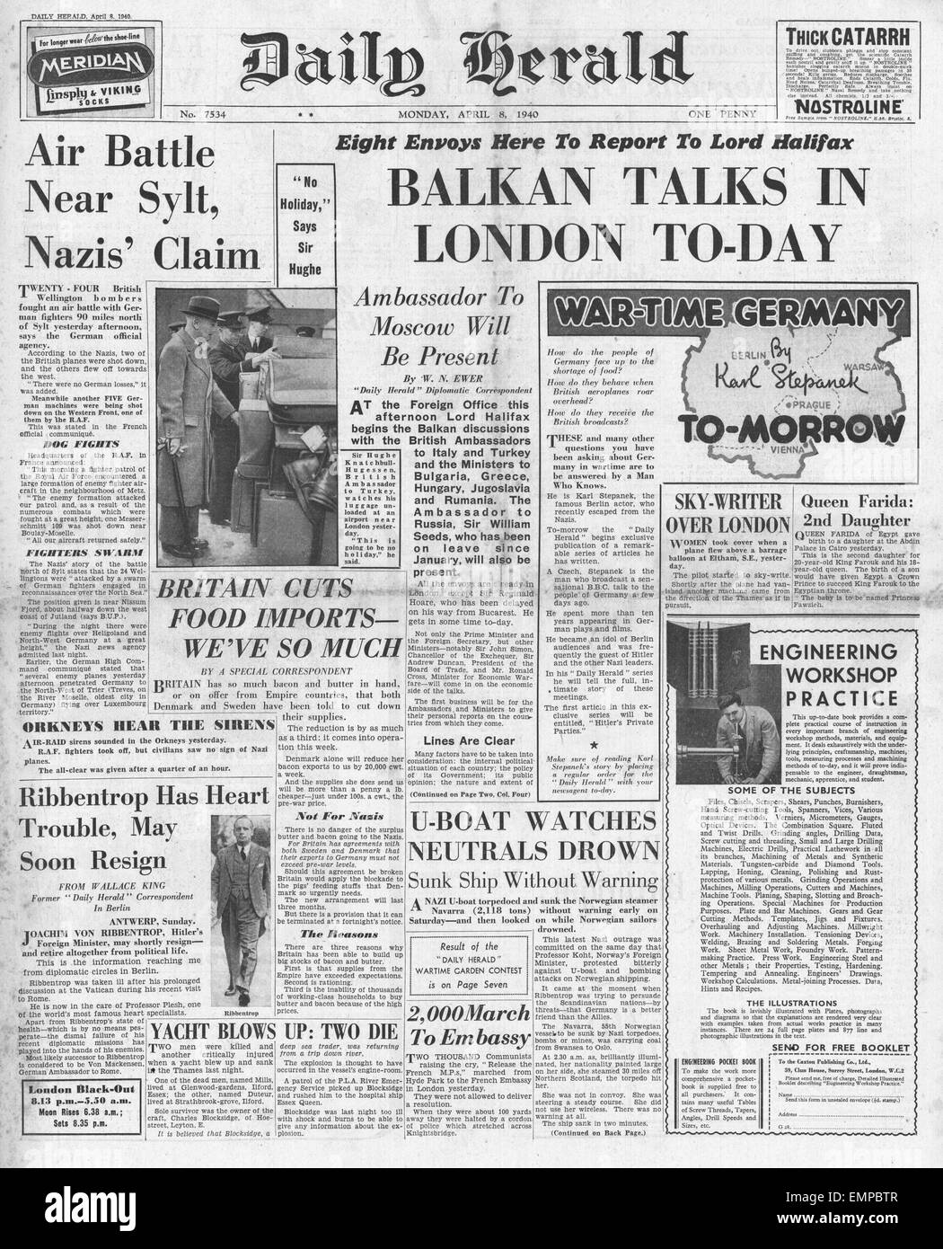 1940 front page Daily Herald Lord Halifax Balkan trade talks - Stock Image
