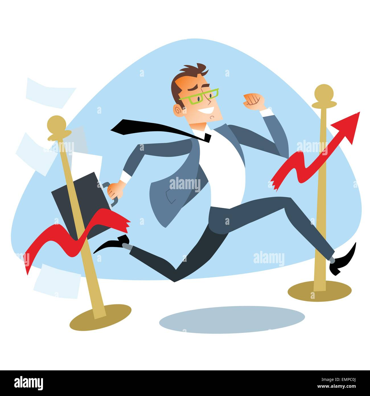 Businessman running breaks the finish tape graph of sales. The theme of the competition business concept - Stock Vector