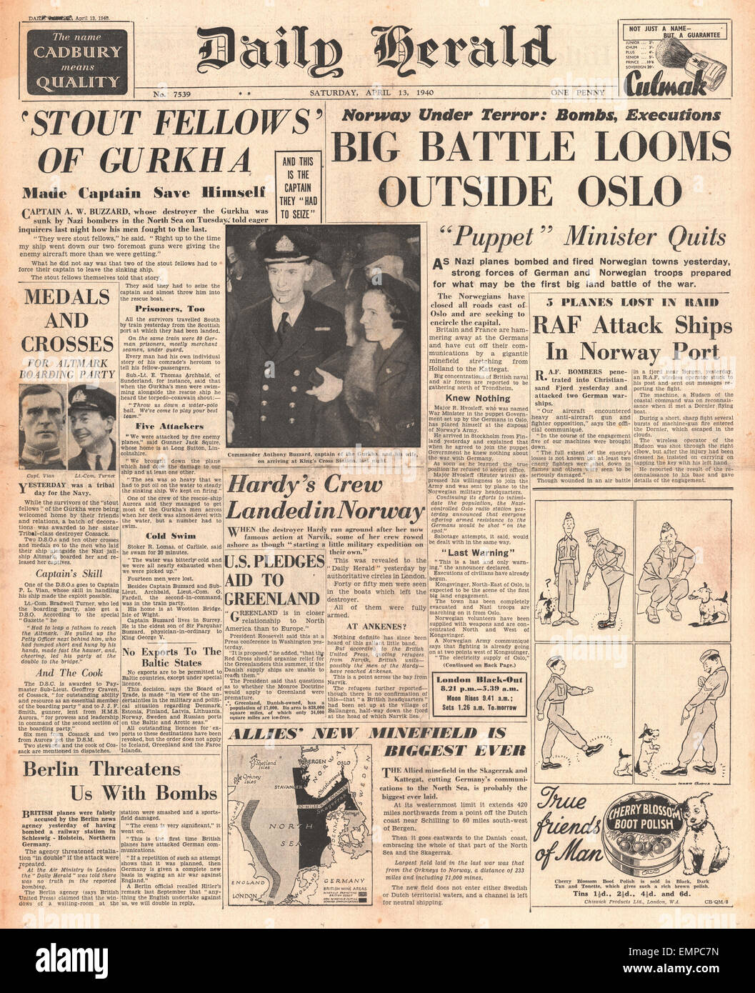 1940 front page Daily Herald Battle of Norway Stock Photo