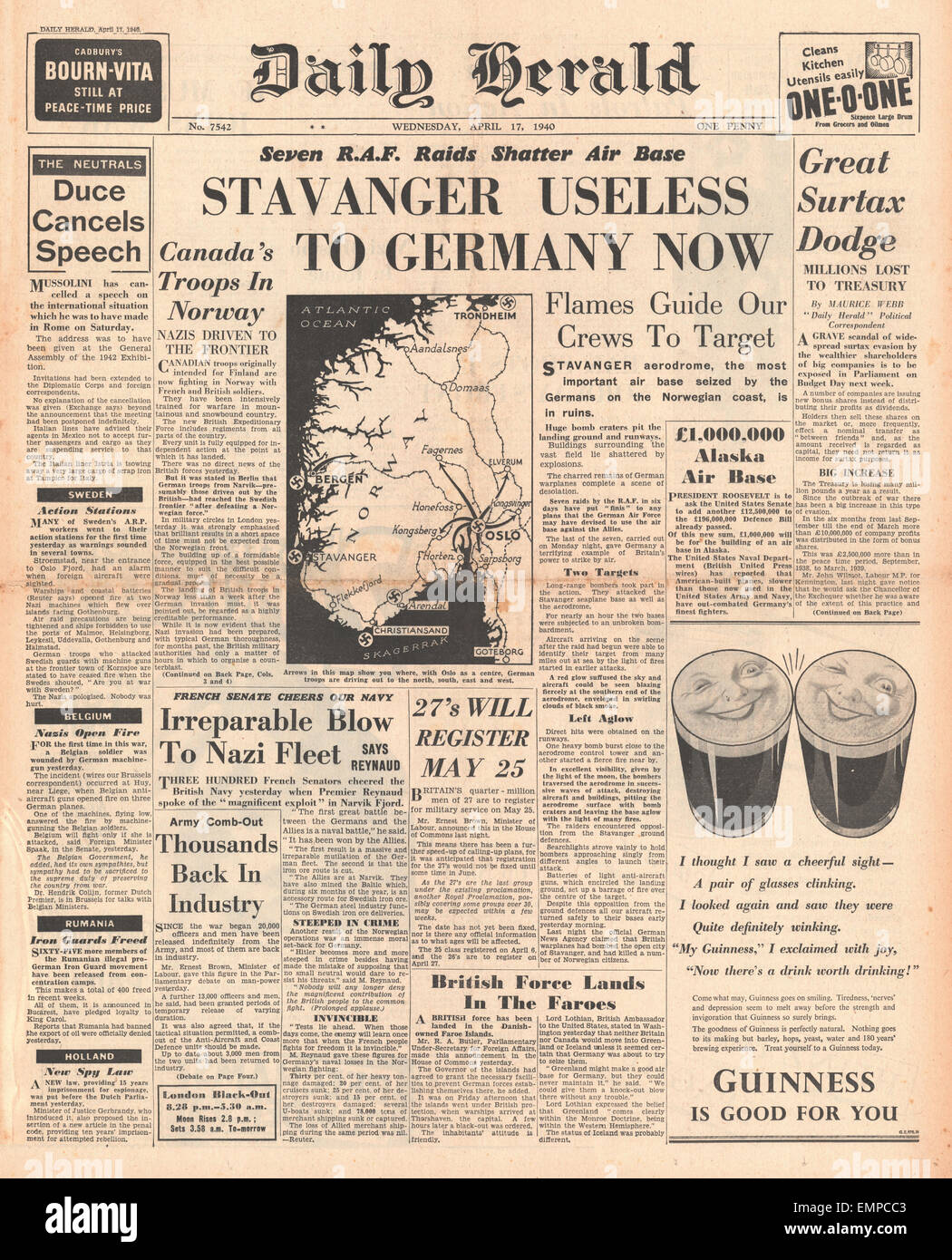 1940 front page Daily Herald Battle for Norway Stock Photo