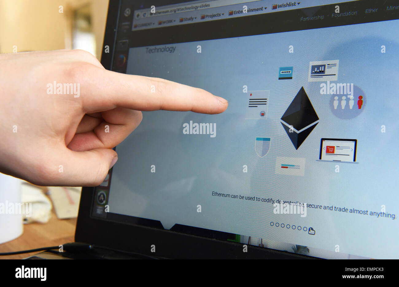 The technology of the Ethereum platform is represented on a computer screen at the Ethereum DEV offices in Berlin, - Stock Image