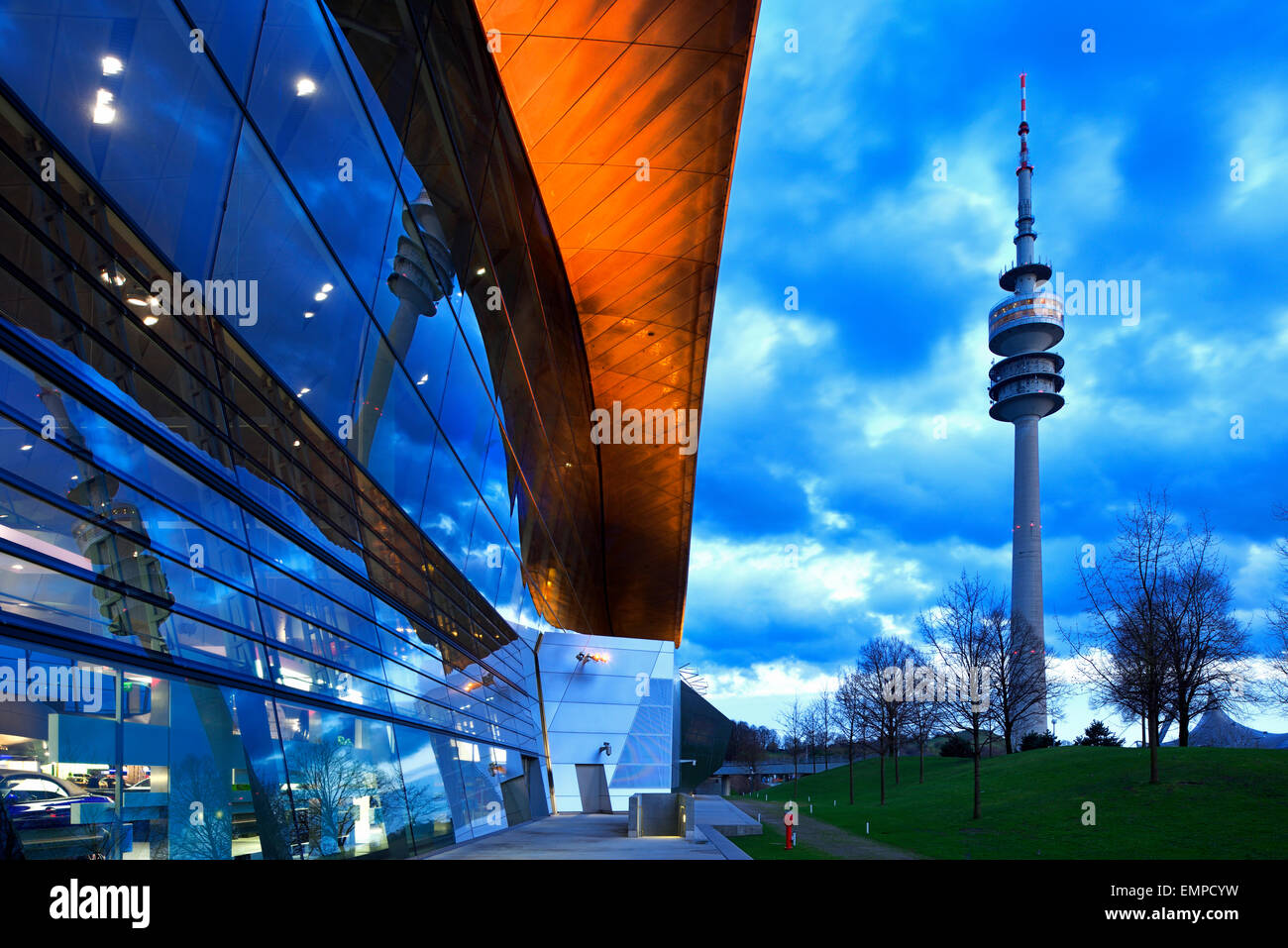 BMW Welt with Olympic Tower, Munich, Upper Bavaria, Bavaria, Germany - Stock Image