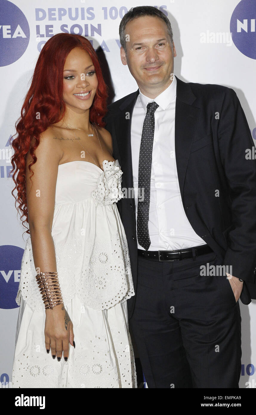 06.MAY.2011 PARIS  RIHANNA AND MARKUS PINGER AT THE GRAND HOTEL IN PARIS FOR THE 100TH BIRTHDAY OF THE SKINCARE - Stock Image